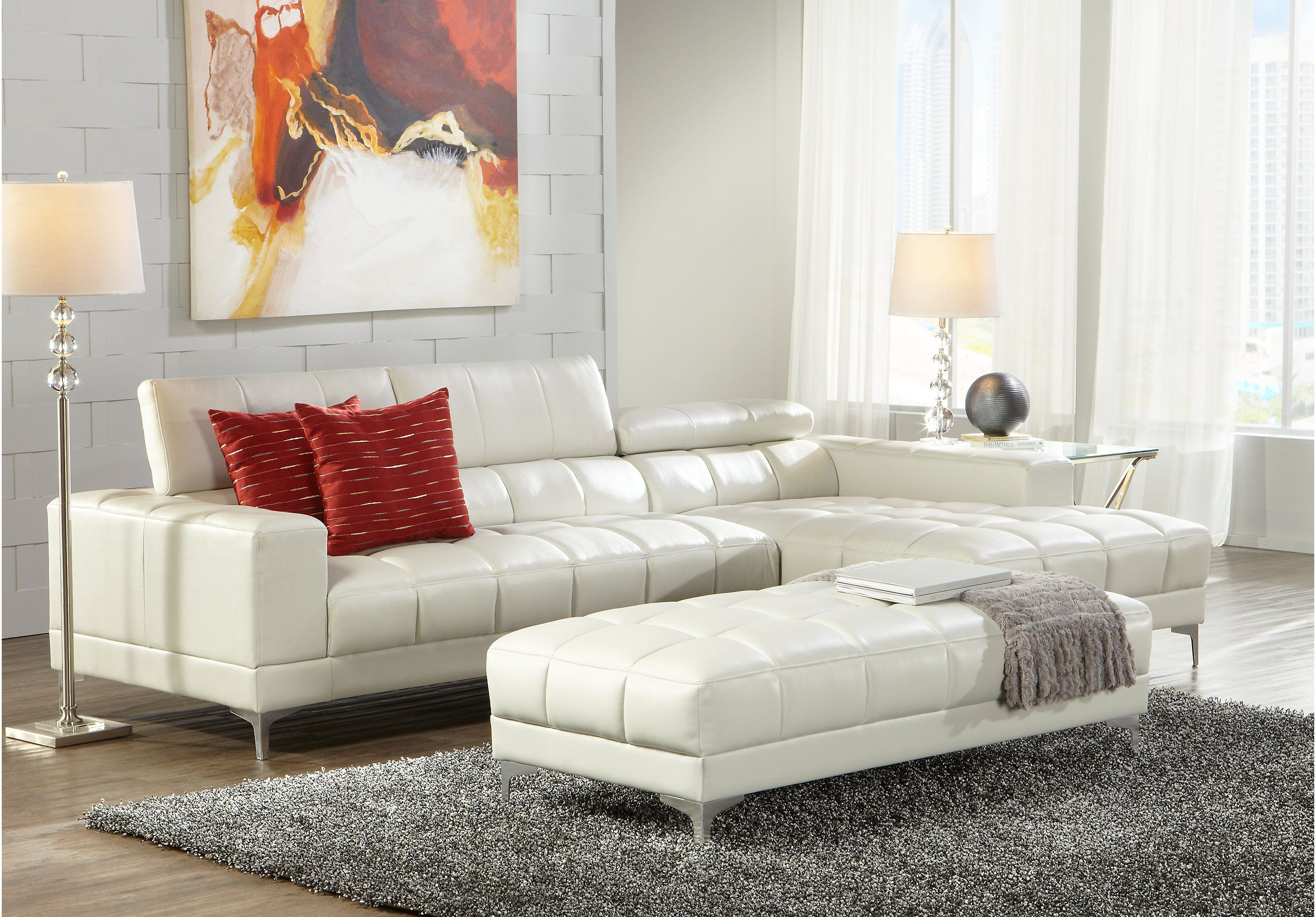 Sofia Vergara Sybella Off White 2 Pc Sectional White Living Room Set Living Room Leather Living Room Sets Furniture