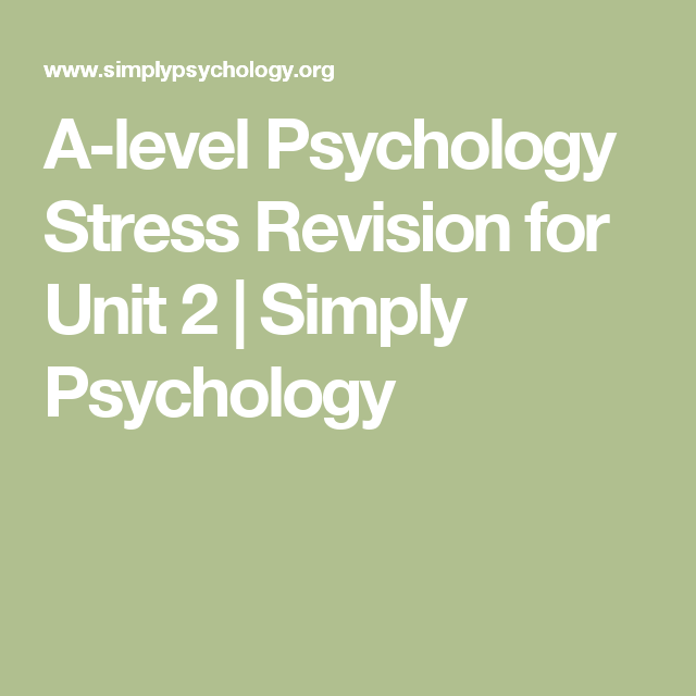 A-level Psychology Stress Revision for Unit 2 | Simply ...
