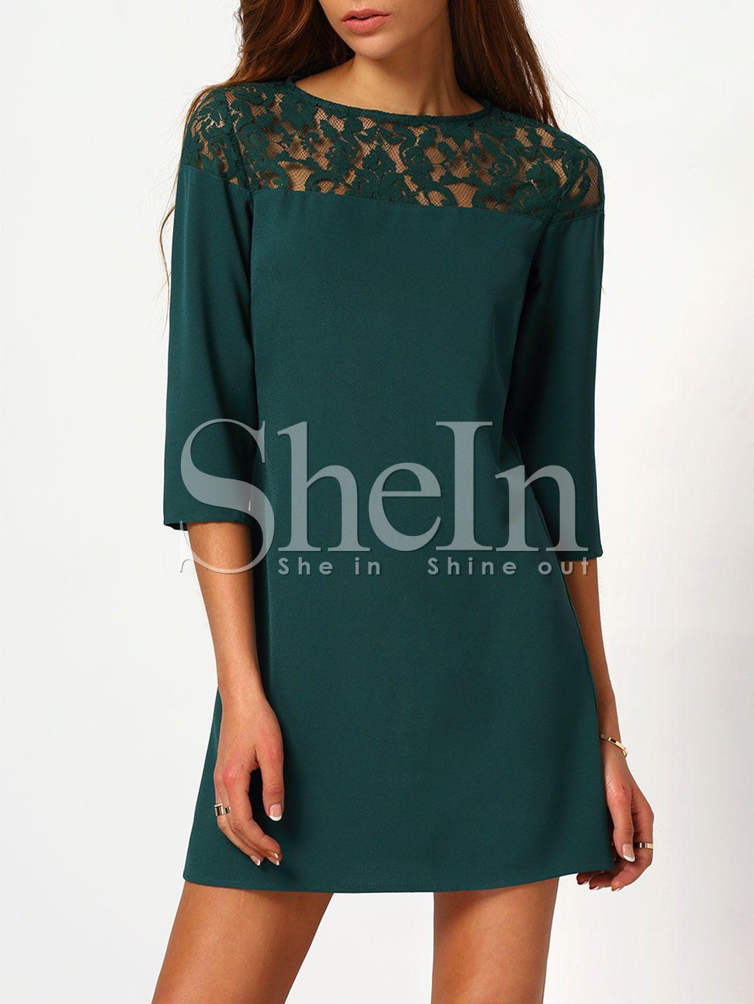 4a477c032a9c SheIn offre Vestito contrasto pizzo girocollo - verde scuro   di più per  soddisfare le vostre esigenze di moda.