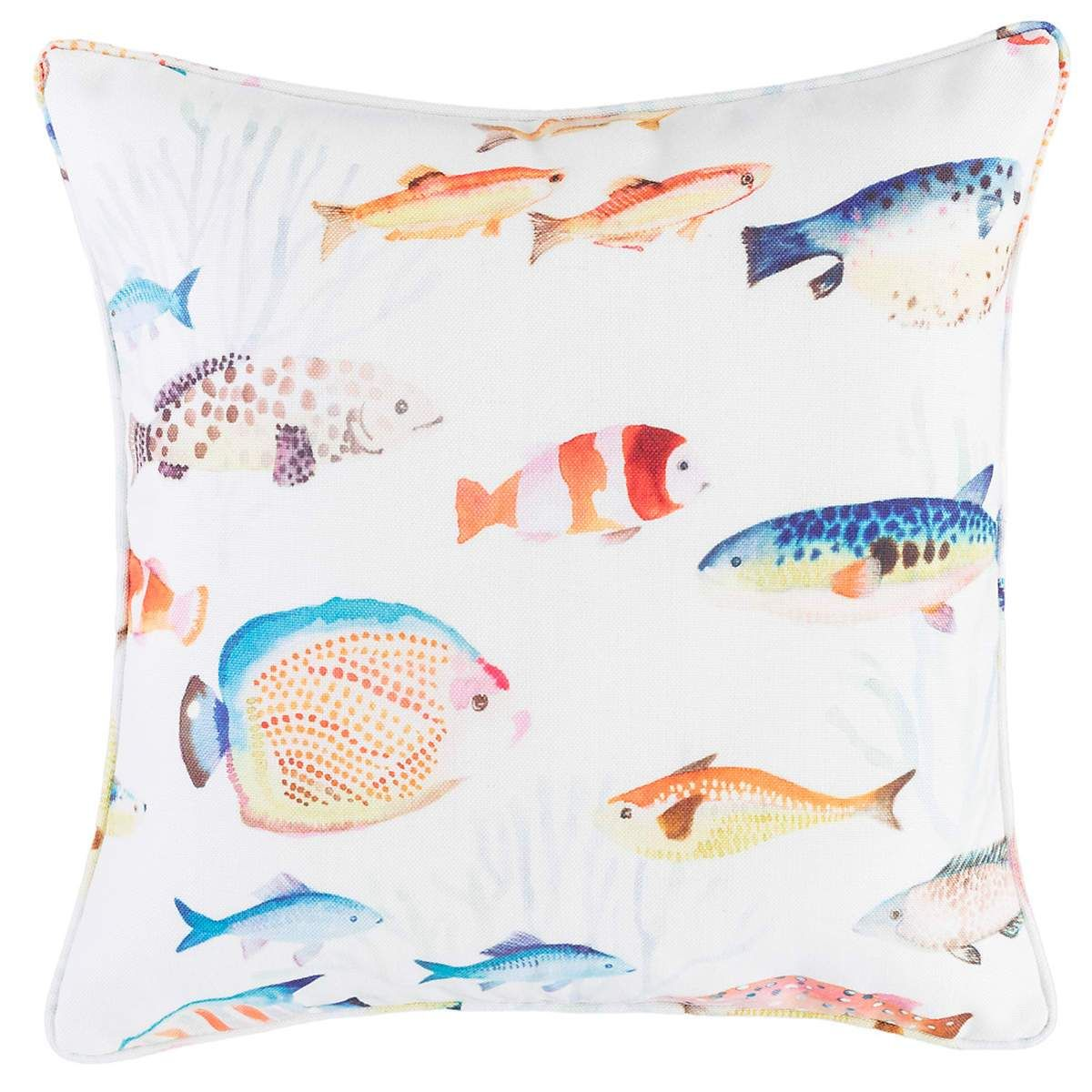 Pine cone hill happy fish indooroutdoor decorative pillow in