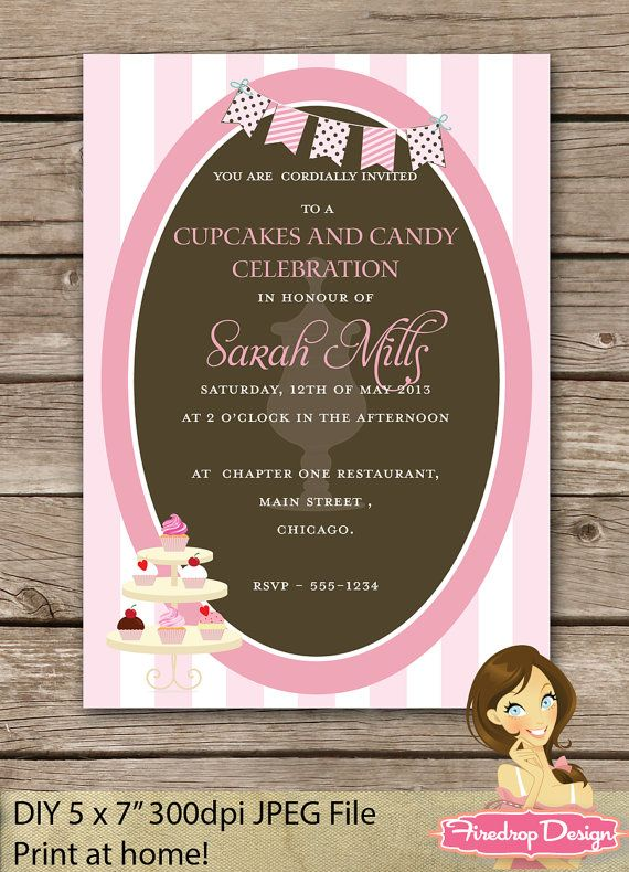 Candy and Cupcake DIY Bridal Shower Printable by Firedropdesign, €12.50
