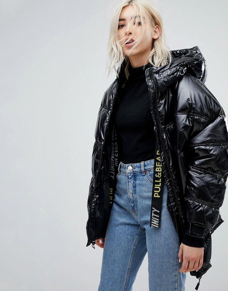 Pull&Bear Black Puffer Ski Jacket Black Bekleidung