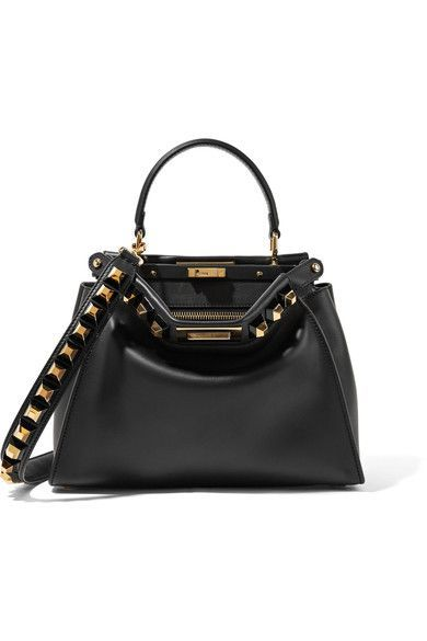 Fendi S Iconic Peekaboo Tote Is Embellished With Pyramid Studs Along The Top And Detachable St Fendi Peekaboo Medium Fendi Peekaboo Fendi Bag Strap