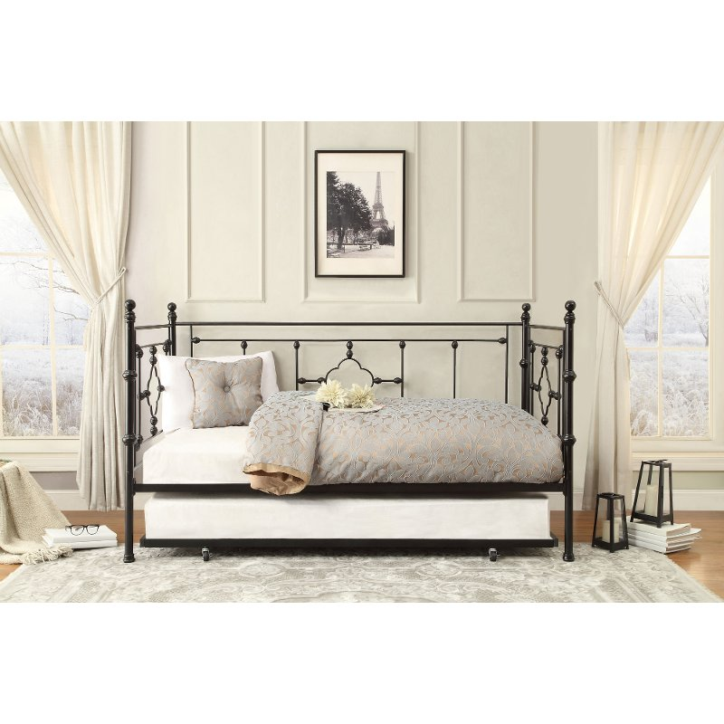 Black Classic Contemporary Metal Daybed With Trundle Alexis