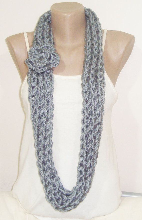 Gray INFINITY SCARF KNIT for Women in Grey hand от earflaphats ...