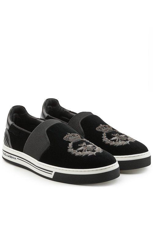 Slip-On Velvet Sneakers - Dolce & Gabbana | MEN