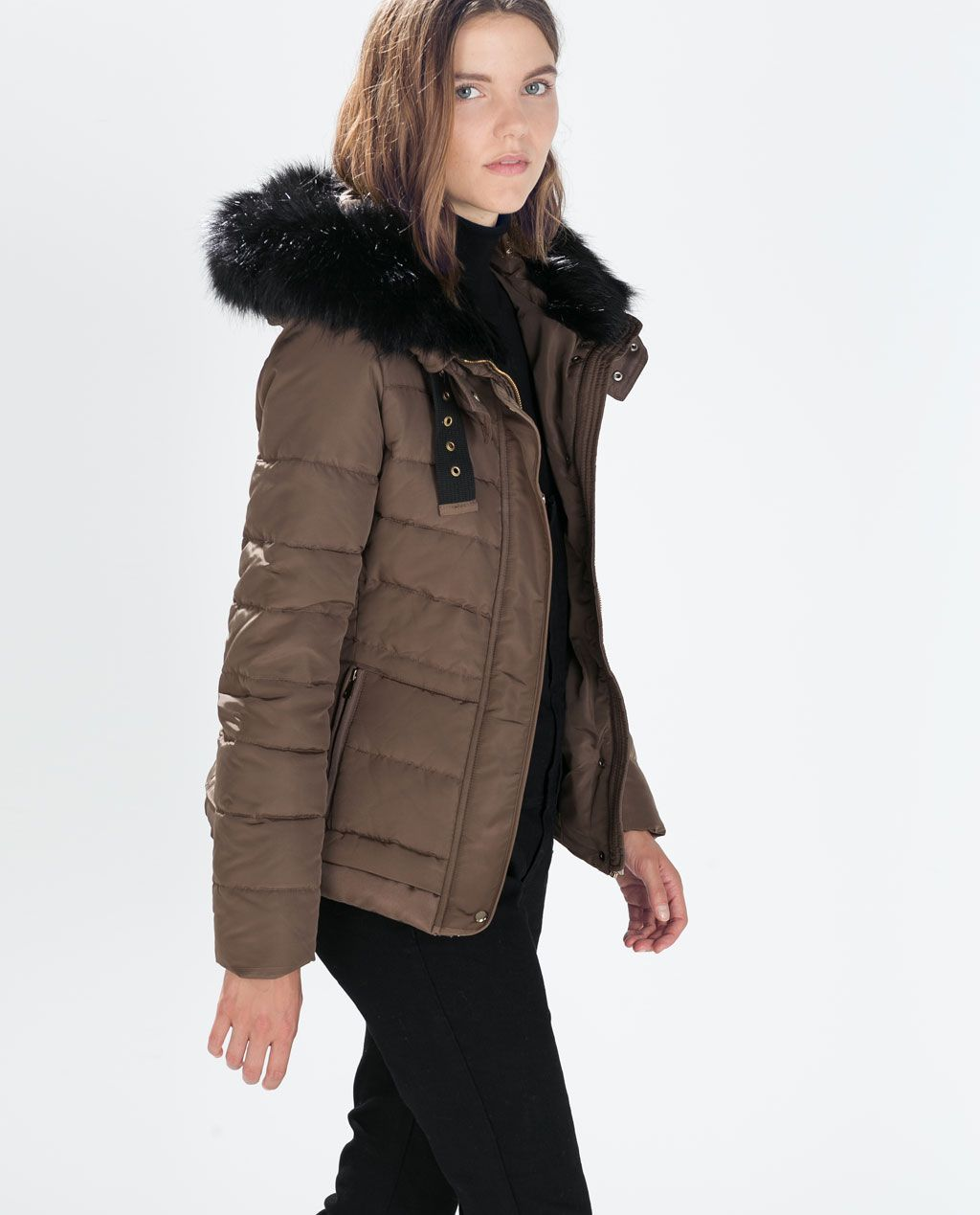 ZARA - SALE - QUILTED ANORAK WITH FUR HOOD