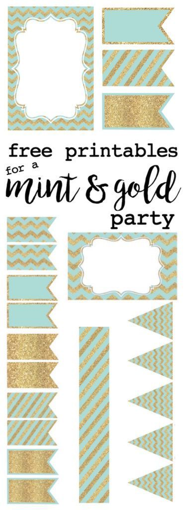 Mint and gold party free printables. Everything you need for a mint and gold theme baby shower, wedding or bridal shower, or birthday party. Invitations, water bottle wrappers, food labels, name cards, banner, and cupcake toppers!