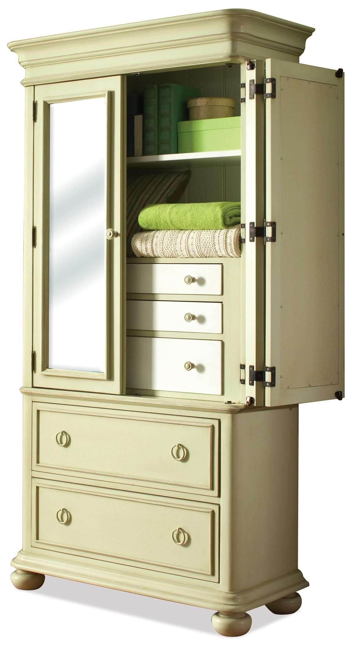 Placid Cove Mirrored 2 Door Armoire with 2 Drawers by Riverside Furniture - Belfort Furniture - Armoire Washington DC, Northern Virginia (NoVA), Maryland, and Dulles, VA