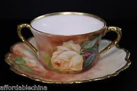 Antique Limoges LDBC Flambeau China Hand Painted Roses Bouillon Cup and Saucer