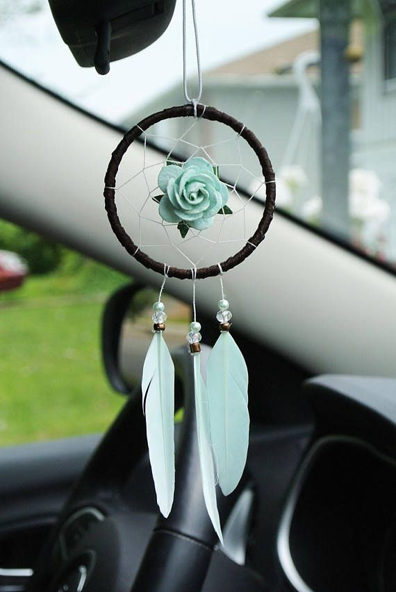 Lovely Brown And Mint Car Dreamcatcher Offers The Perfect Piece Of Simple Dream Catcher To Hang In Car