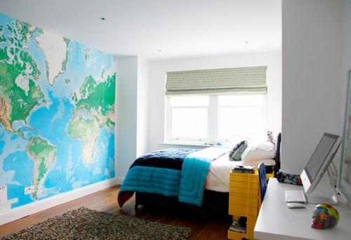 Große Weltkarte Wandgestaltung Farbgestaltung Fürs Jugendzimmer