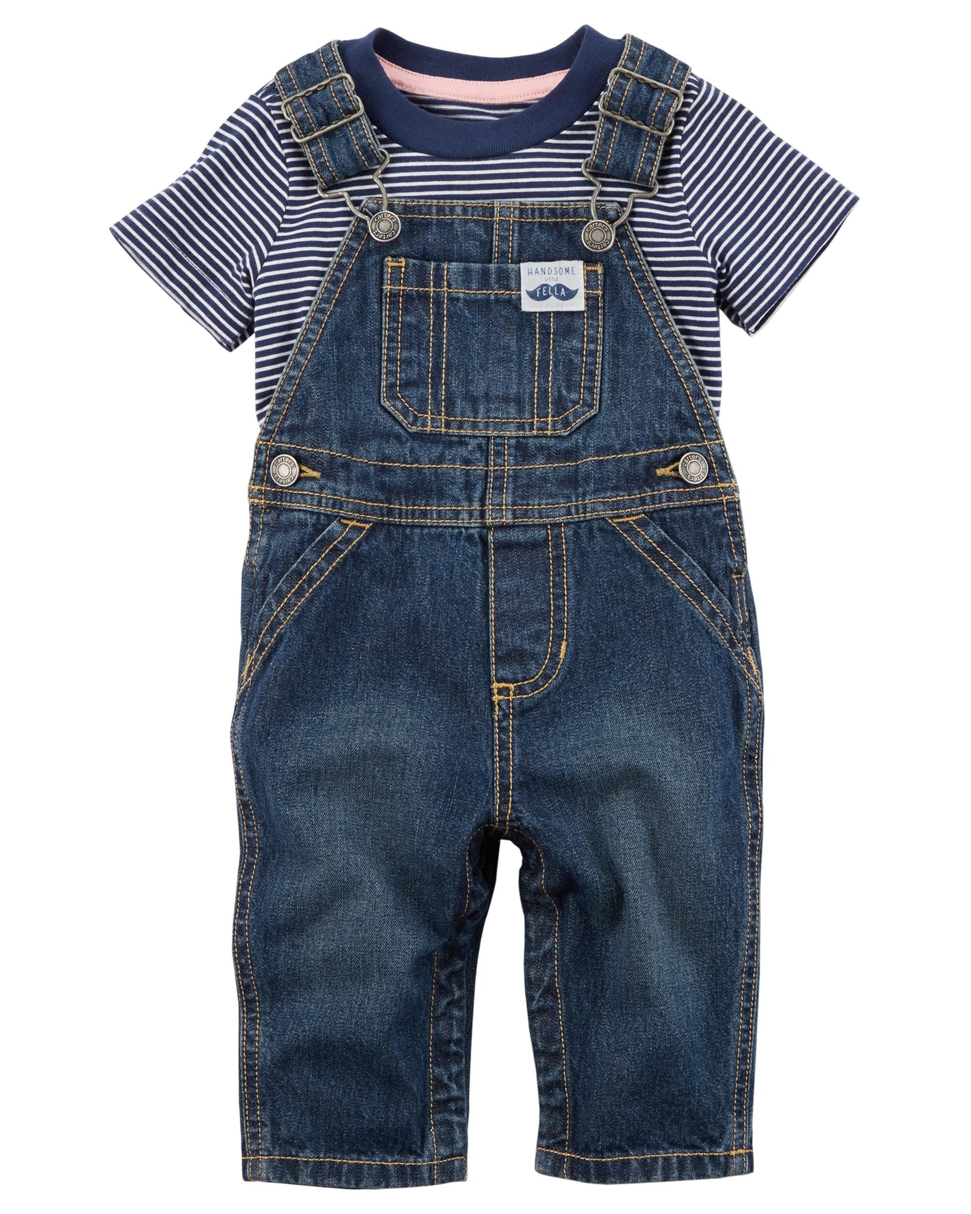53ee5d9d2 With a striped tee to go under classic denim overalls, this 2-piece set  makes a handsome and ready-to-go outfit.