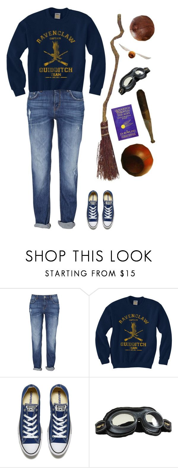 """""""Ravenclaw Quidditch"""" by ohhmyguinness ❤ liked on Polyvore featuring Converse, harrypotter, ravenclaw, quidditch and blueandbronze"""