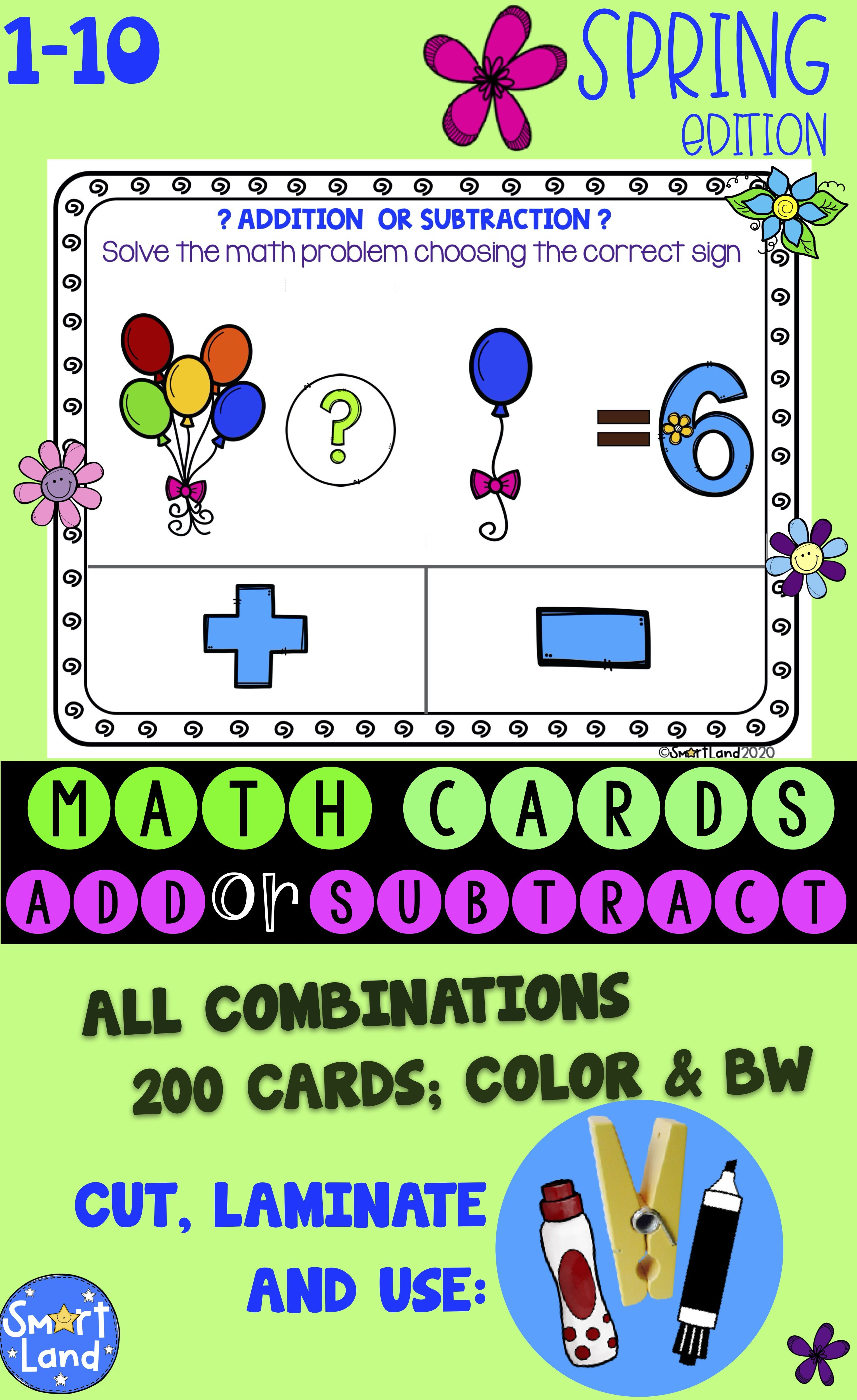 Math Cards Add Or Subtract Spring In