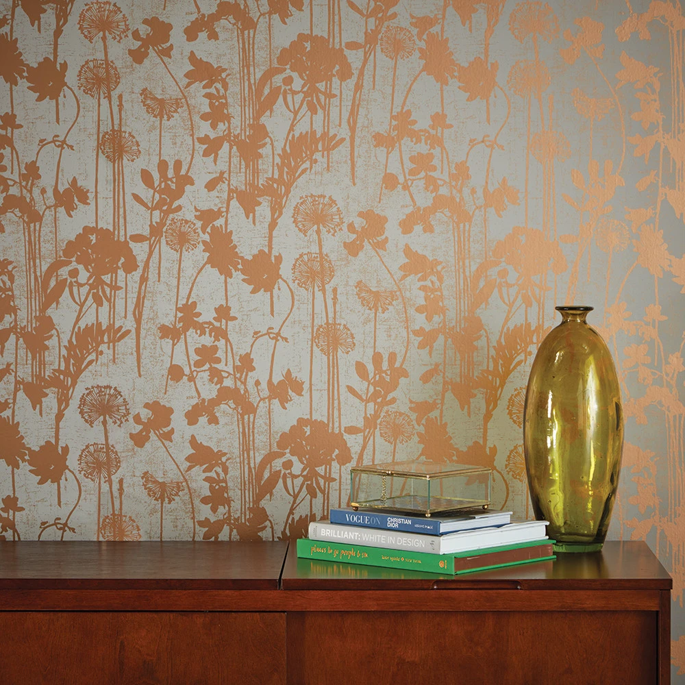 Distressed Floral Wallpaper In Grey And Metallic Copper Design By Temp Removable Wallpaper Copper Wallpaper Temporary Wallpaper