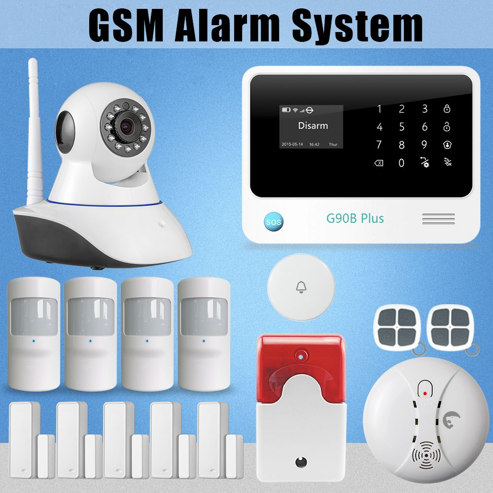 Etiger G90b Plus Gsm Gprs Sms Alarm System Kits For House Security Burglar Powered By Battery Smoke Detector