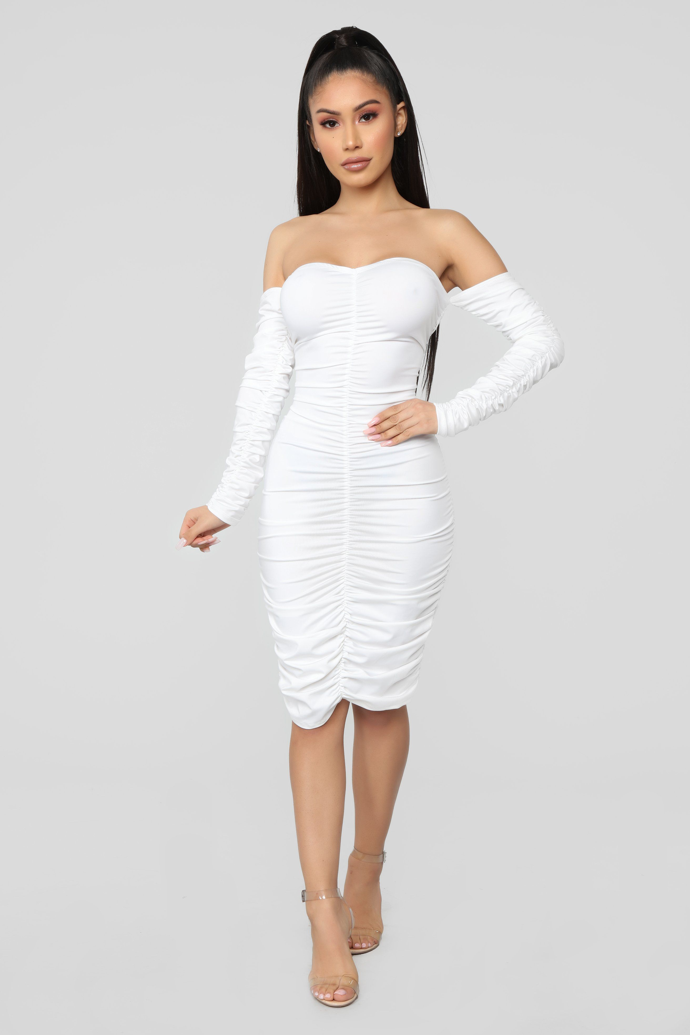 394644b8d7 Whatever You Want Ruched Midi Dress - White in 2019   Janet Guzman ...