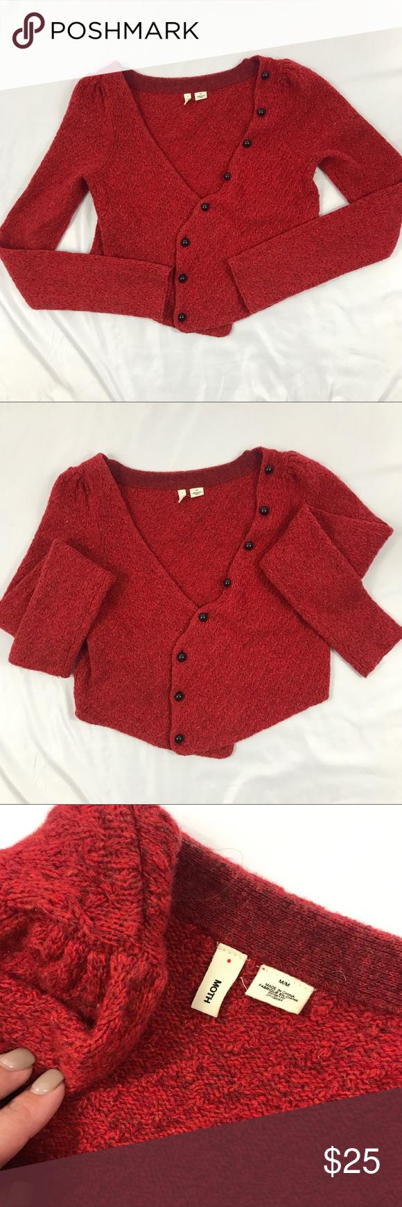 MOTH Anthropologie Wool Red Crop Cardigan Sweater | Moth ...