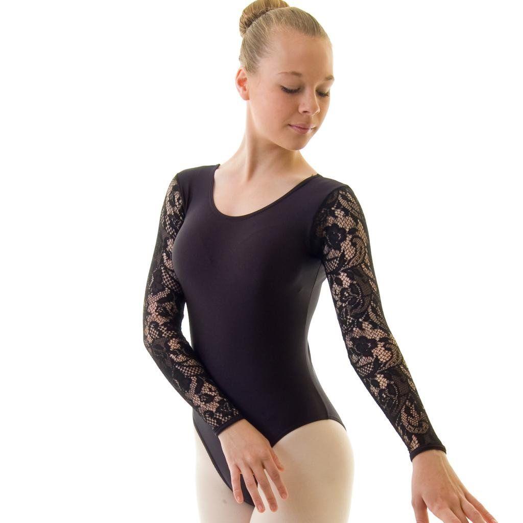 d2b0a1820323 Girls Long Sleeve Floral Lace Ballet Dance Leotard Shiny Nylon Lycra ...