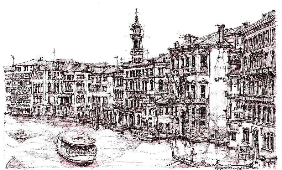 Line Drawing Venice : Venice in pen and ink drawings