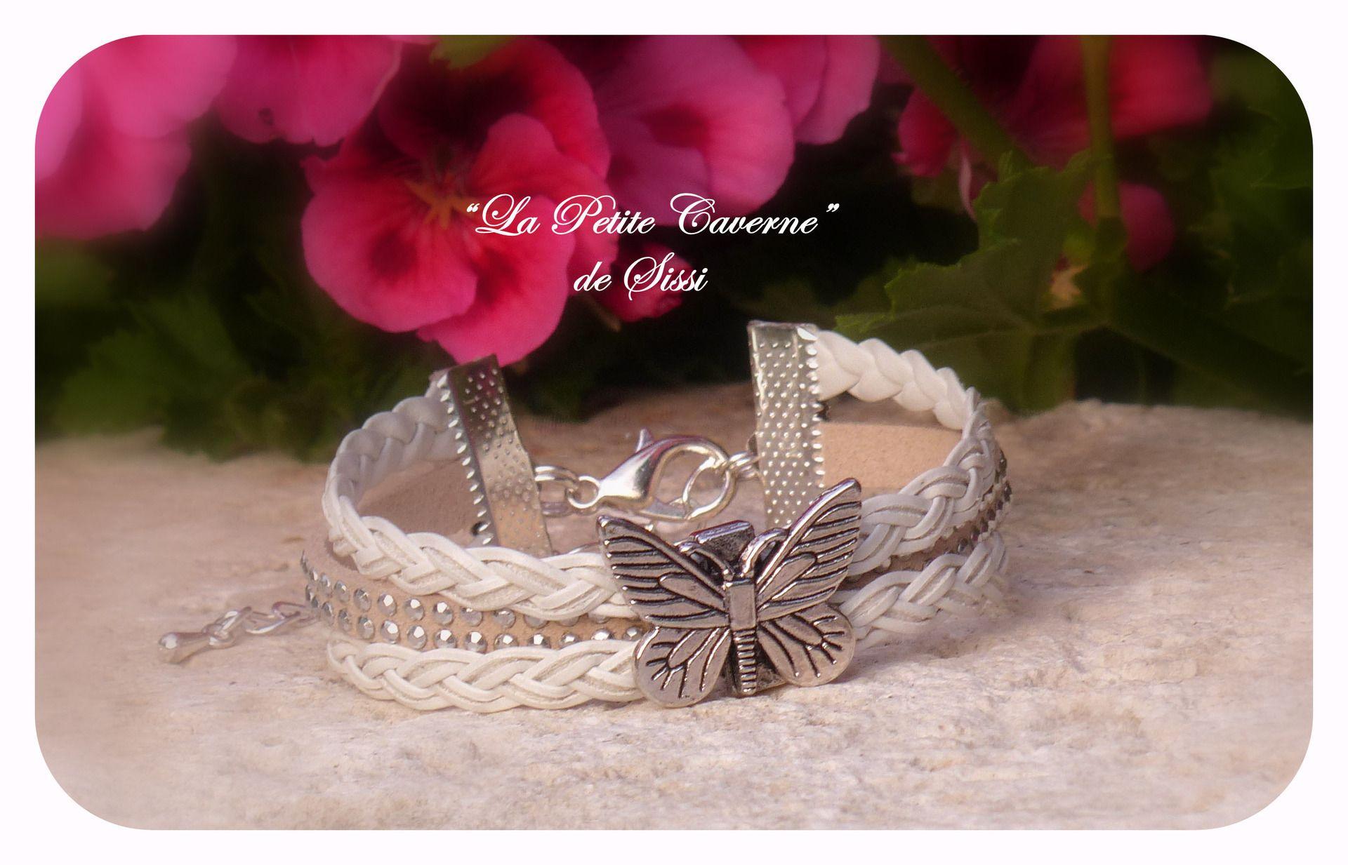 Bracelet ajustable simili cuir et suédine : Bracelet par la-petite-caverne-de-sissi