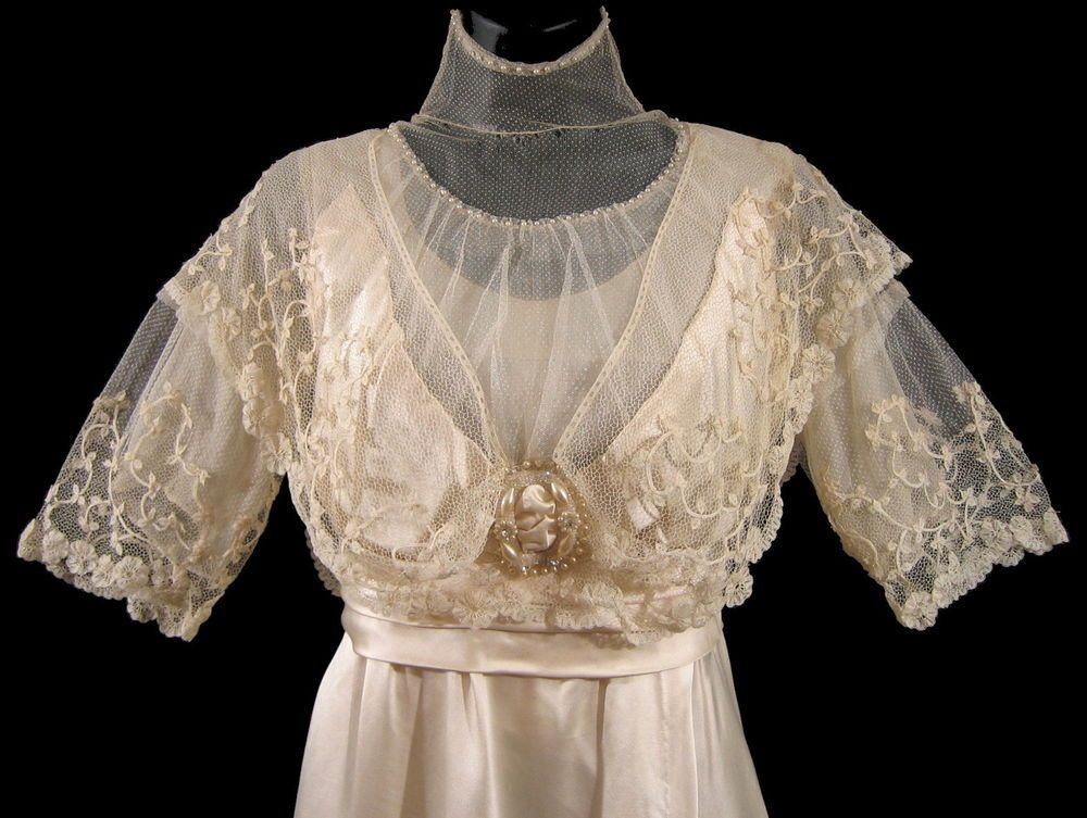 1900s Brussels Lace Wedding Gown Edwardian Titanic Dress Silk