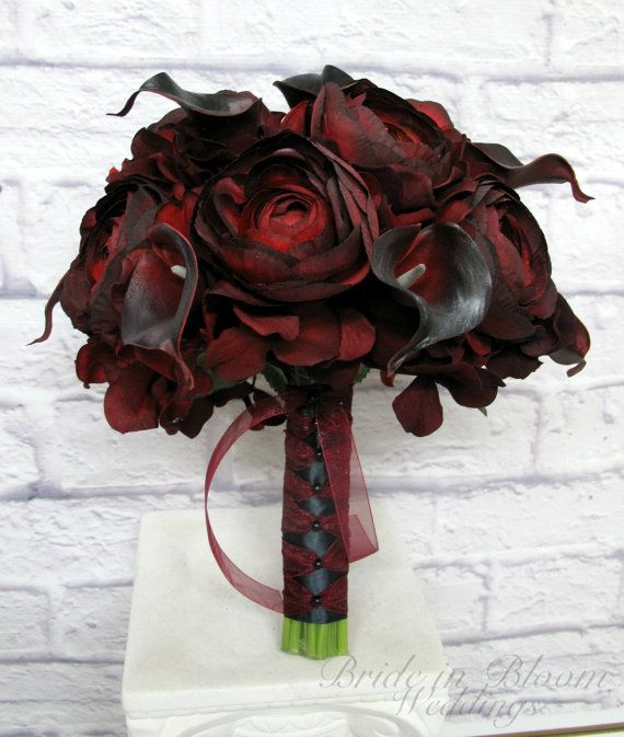 Wedding Bouquet Red black bouquet, real touch calla lily ranunculus - Silk wedding bouquet #fantasticweddingbouquets