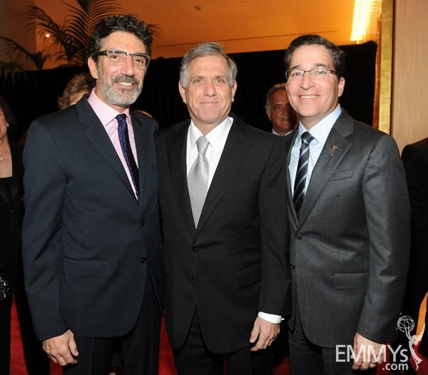Chuck Lorre, new inductee Leslie Moonves, and Bruce Rosenblum at The Television Academy's 22nd Hall of Fame Induction Ceremony