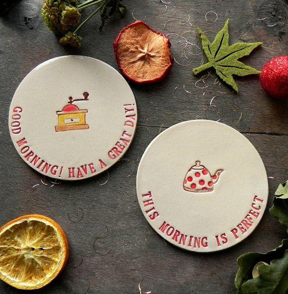 Inspirational Ceramic Coasters  Good Morning Coffee Coaster