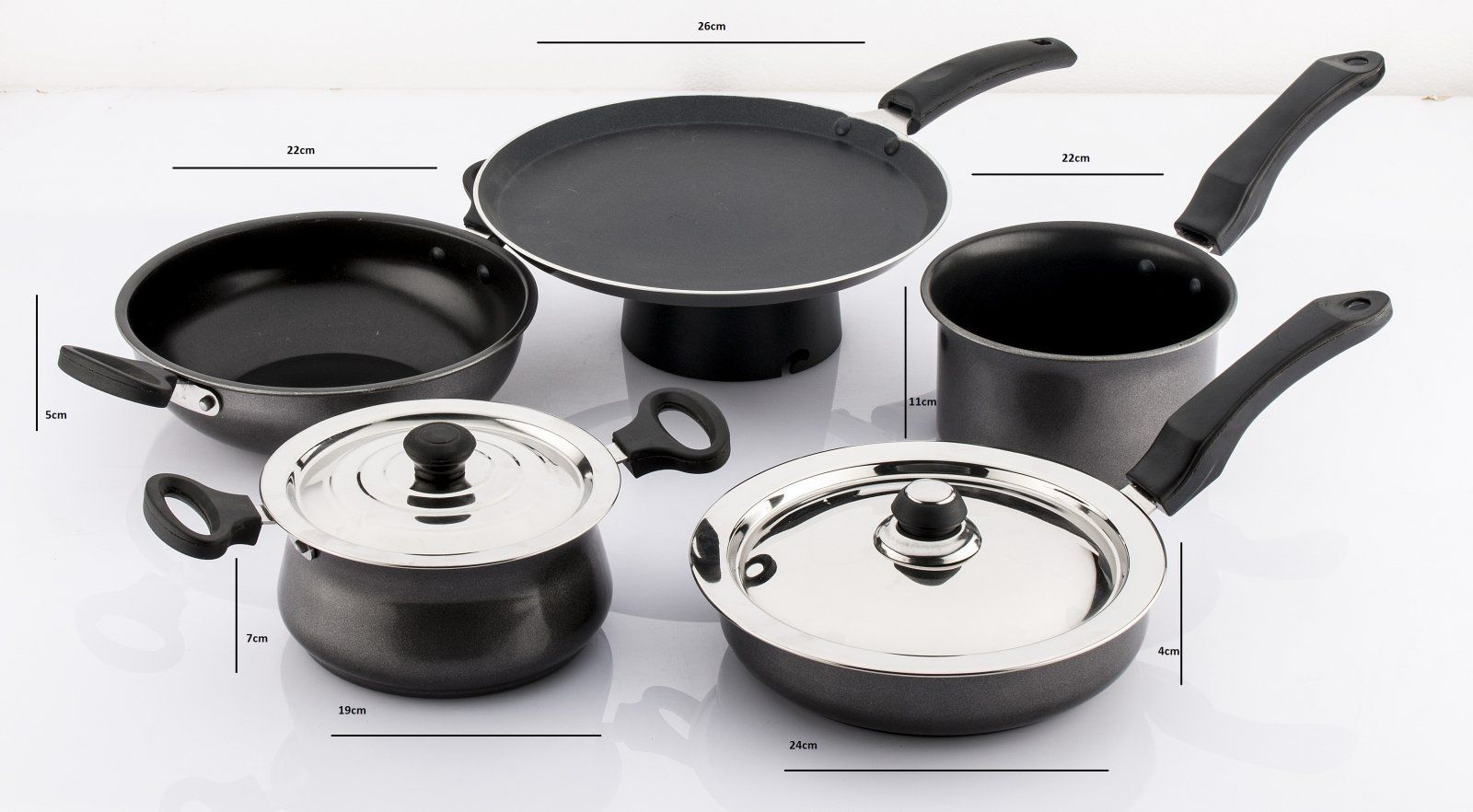0f56fca7e8d Buy Mahavir Medium Non Stick Induction Induction Bottom Cookware Set  (Aluminium