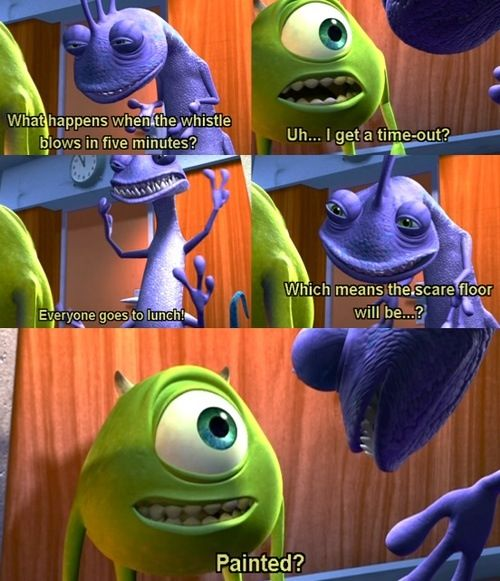 Monsters Inc Randall Telling Mike What S Going To Happen At 12 00 And Make Mike Guess And Finish His Sentences Disney Funny Disney Memes Monsters Inc