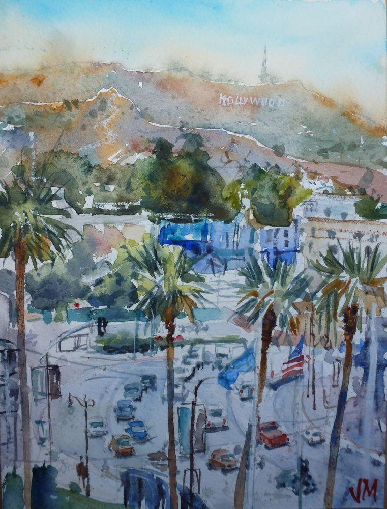 "Hollywood Hills Watercolor  Original Painting, 8""x 6""  Art Work   | eBay"