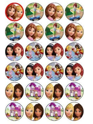 24 Lego Friends Cupcake Toppers Pozvanka