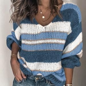 Women's Striped V neck Knitted Sweater Long Sleeve Pullover