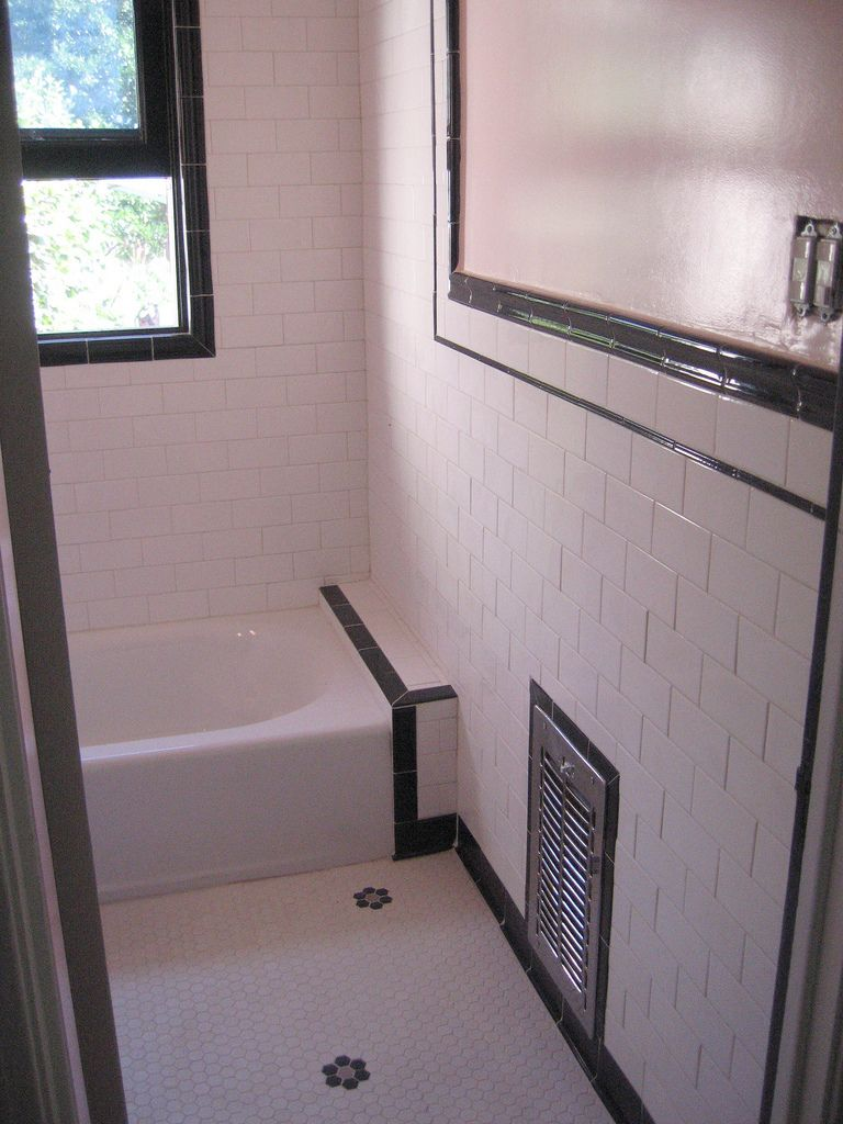 bathroom remodel-day 68 | White tiles and Art deco bathroom