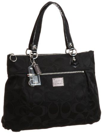Coach  Coach Poppy Signature Sateen Glam Tote Black Handbag  5.0 out of 5 stars  See all reviews (1 customer review) | Like (2)  List Price:	$228.00  Price:	$218.00 & this item ships for FREE with Super Saver Shipping.