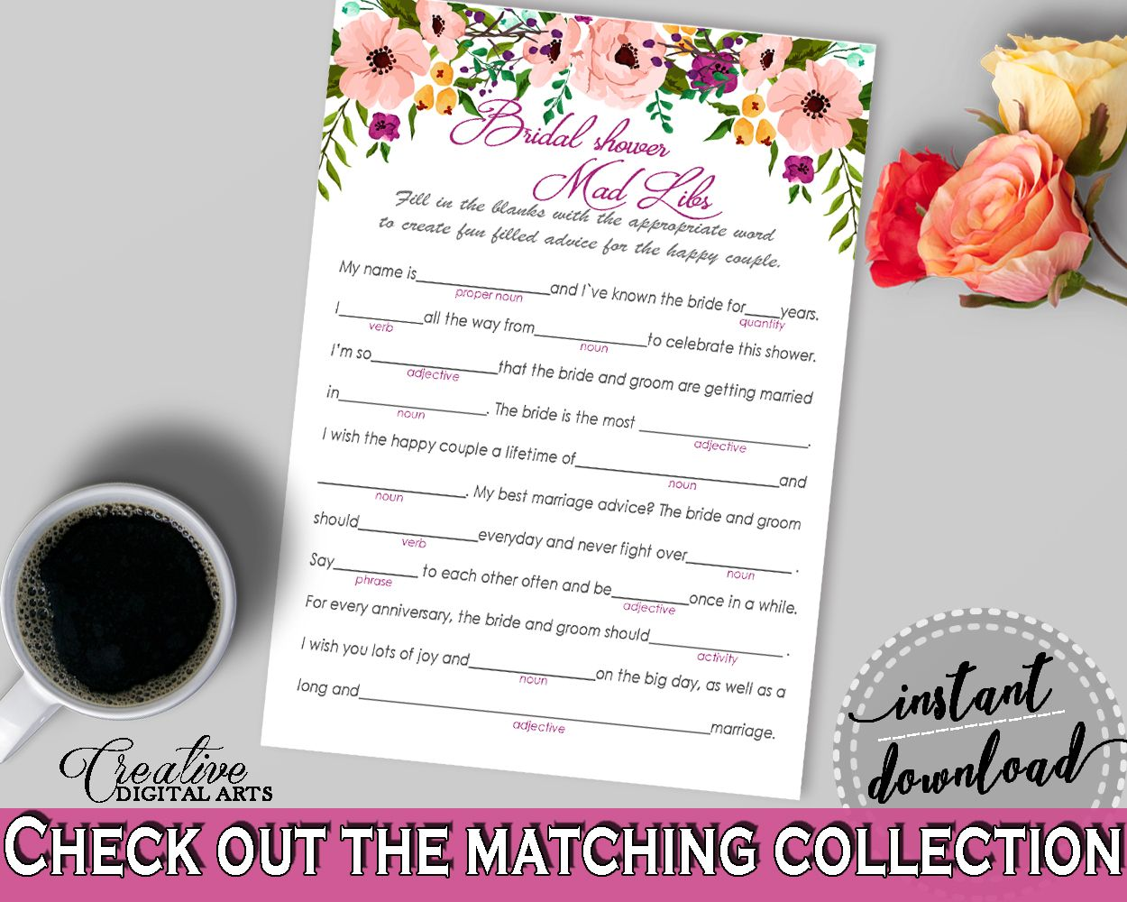 Watercolor flowers bridal shower mad libs game in white and pink watercolor flowers bridal shower mad libs game in white and pink noun pink flowers shower customizable files party theme prints 9goy4 stopboris Choice Image