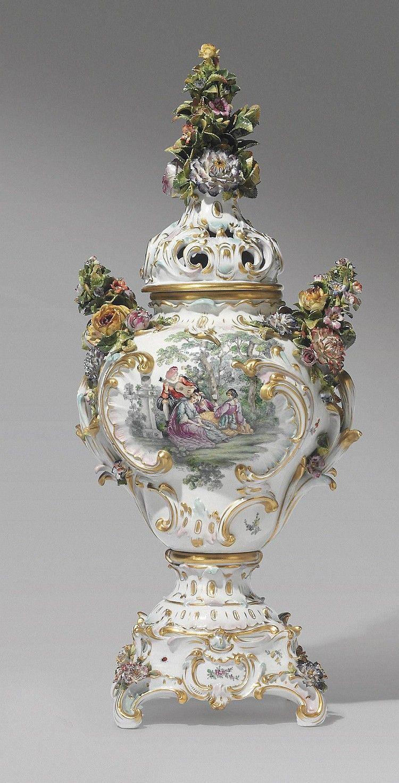 A Meissen porcelain flower-encrusted vase | flower encrusted ...