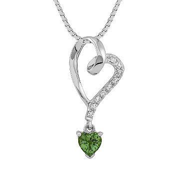 Heart shaped green sapphire and diamond heart pendant 18 in diamond jewelers jewelry stores fine jewelry diamond heartgold heartgreen sapphiresapphire pendantheart aloadofball Choice Image