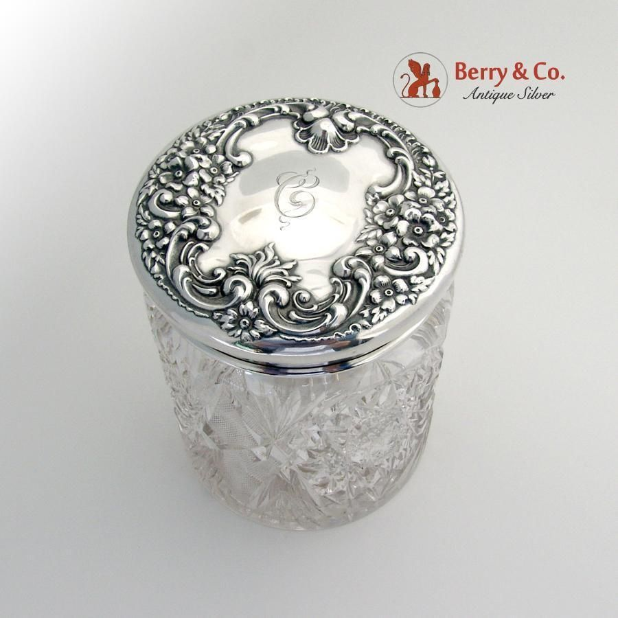 Floral Scroll Shell Large Dresser Jar Sterling Silver Cut Glass 1900