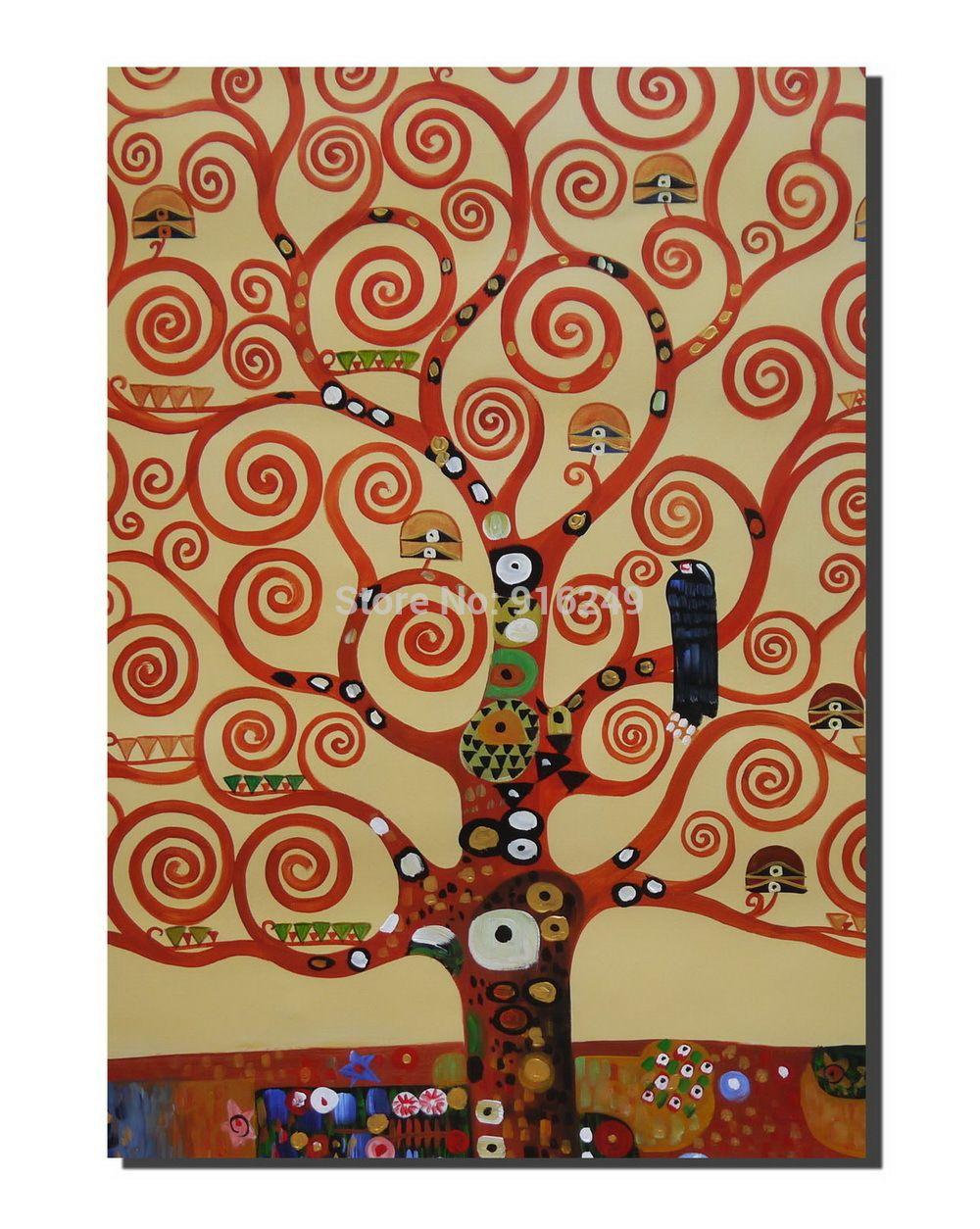 Pas cher Peint à la main Klimt la arbre de la vie sur toile Klimt Reproduction peinture ...
