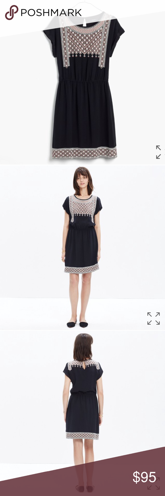 "NWT Madewell Silk Starflower Dress Brand new black silk dress with intricate embroidery. Elasticized waist for flattering fit. Runs a little big- would fit sizes 4-6. Bust is 38"" and length is 36"". Madewell Dresses"