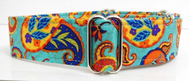 Paisley Adjustable Martingale Dog Collar - made to Order - by JinsK9Kreations on Etsy
