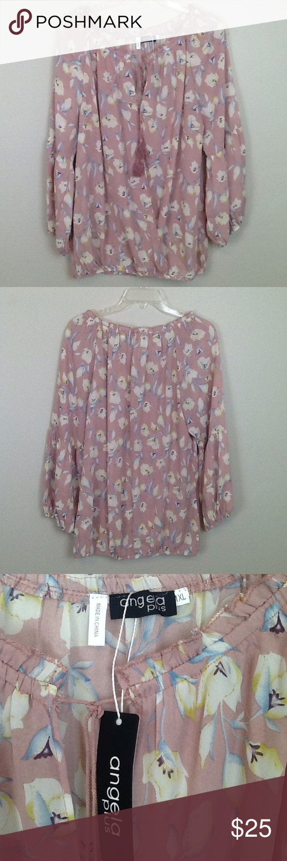 Pastel Floral Blouse with Angel Sleeves