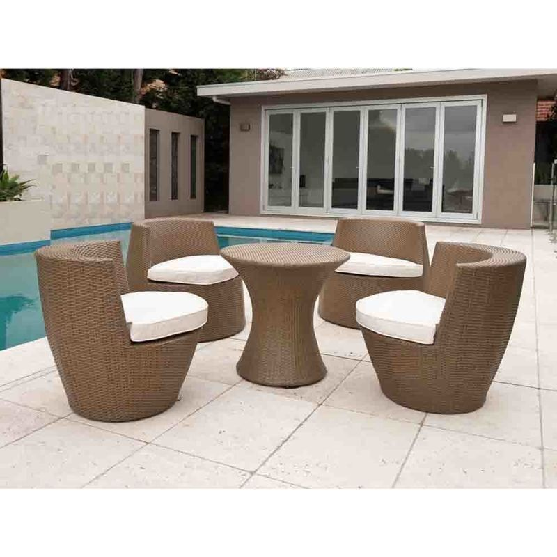 Stacking Tower 5 Piece Wicker Lounge Set In Natural Outdoor