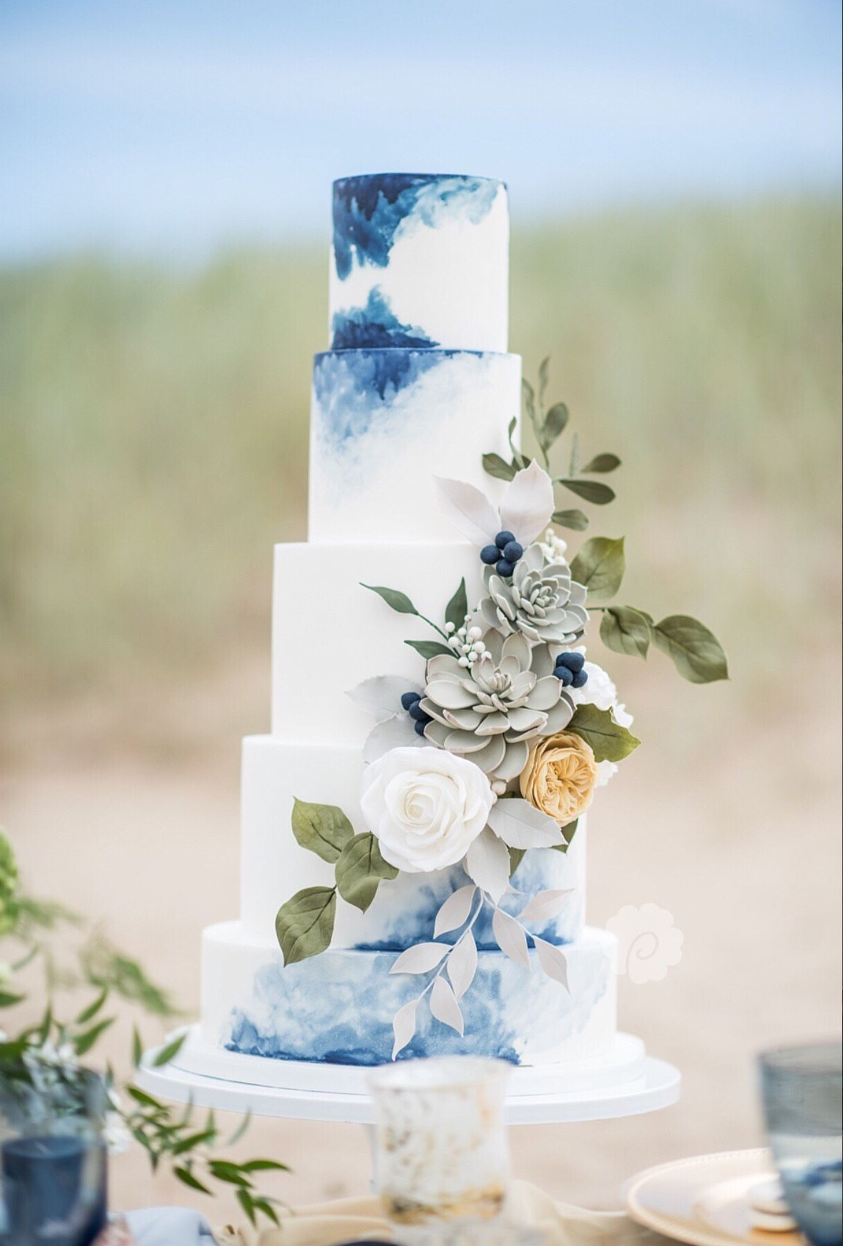 Beach Inspired Blue Watercolour Wedding Cake With Organic In 2020