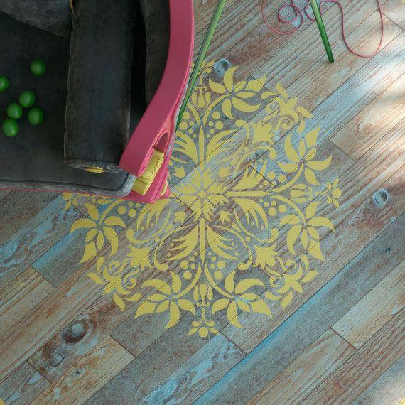 Pochoir Mandala plancher décor pochoir peinture murale Jardin