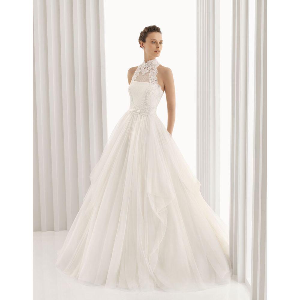 Women\'s White Organza A-line Lace Neckline Wedding Gown   Overstock ...