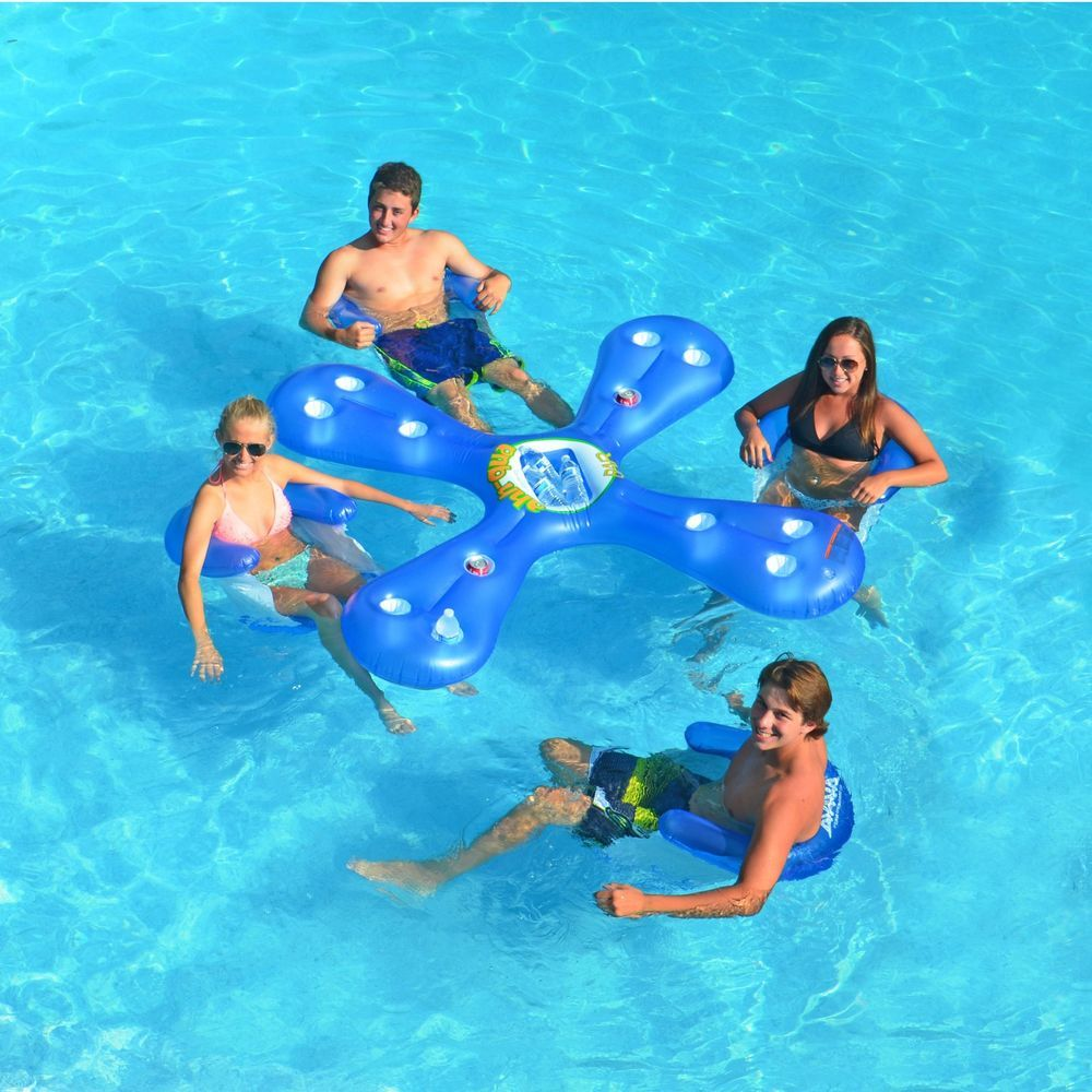 4Person Bar Pool Island ,Drink Holder Inflatable With